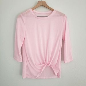 Lightweight Pink Tie Front Top Size L